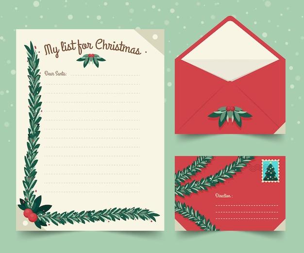 Platte ontwerpsjabloon kerst briefpapier
