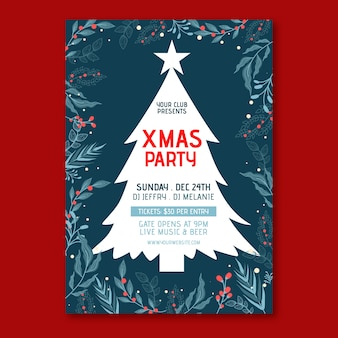 Platte ontwerpsjabloon kerstfeest poster