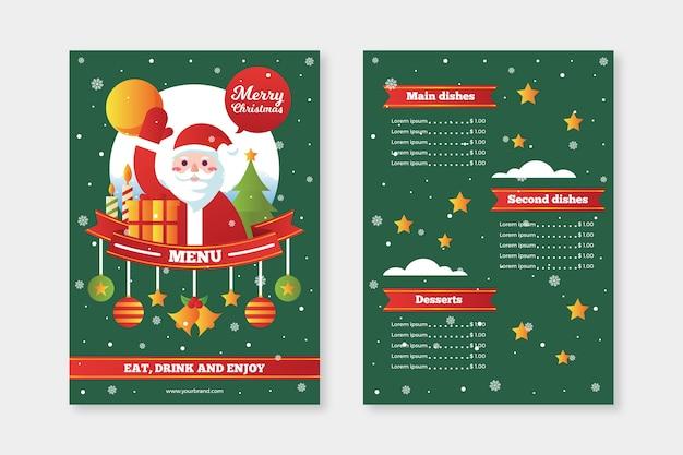 Platte ontwerpsjabloon kerstmenu
