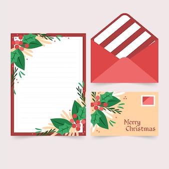 Platte ontwerpsjabloon kerstmis briefpapier