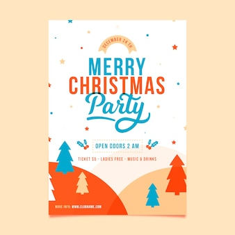 Platte ontwerpsjabloon kerstmis partij folder