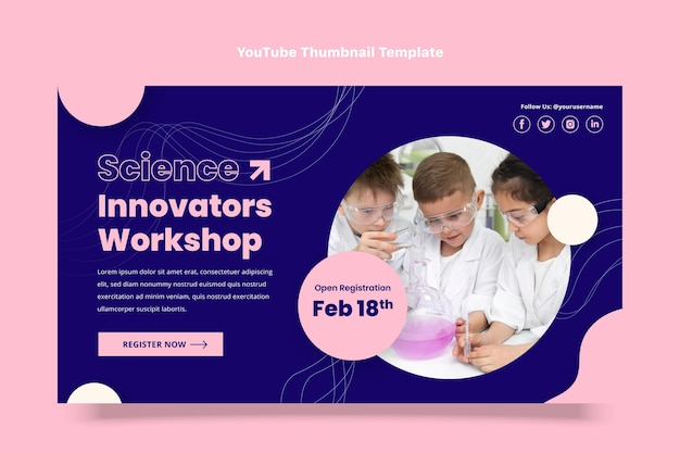 Platte ontwerpsjabloon van wetenschap youtube thumbnail