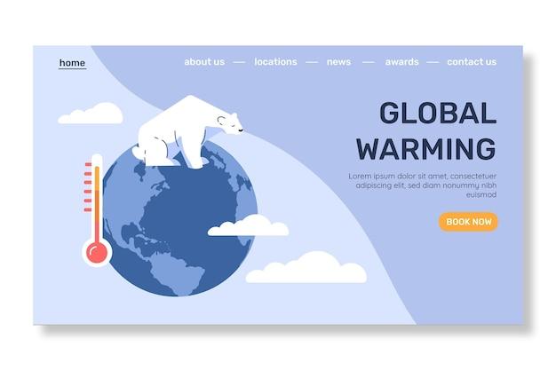 Platte ontwerpsjabloon voor bestemmingspagina's voor klimaatverandering
