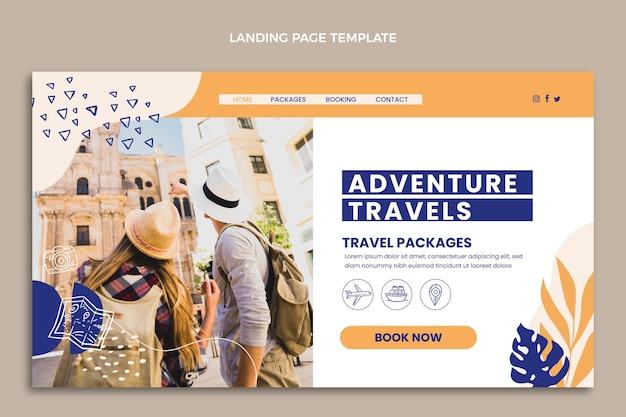 Platte ontwerpsjabloon voor bestemmingspagina's voor reizen