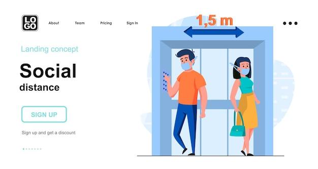 Platte ontwerpsjabloon voor bestemmingspagina voor sociale afstand