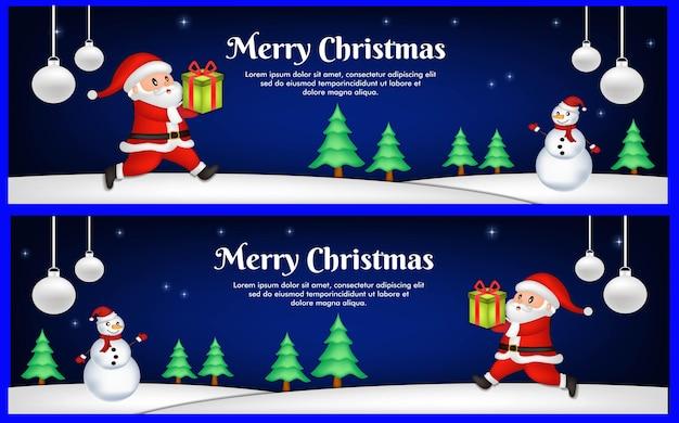 Platte ontwerpsjabloon voor kerstbanners
