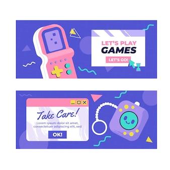 Platte ontwerpsjabloon voor nostalgische 90's banners