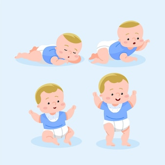Platte ontwerpstadia van een babyjongen set
