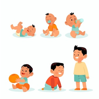 Platte ontwerpstadia van een babyjongen