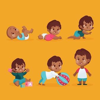 Platte ontwerpstadia van een babyjongencollectie
