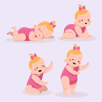 Platte ontwerpstadia van een babymeisje pack