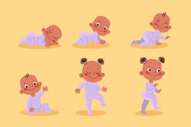 Platte ontwerpstadia van een babymeisje