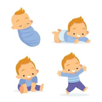 Platte ontwerpstadia van een illustratie van een babyjongen Gratis Vector
