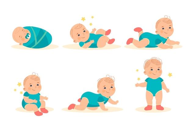 Platte ontwerpstadia van een illustratie van een babyjongen