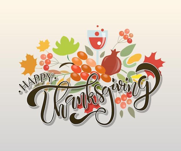 Platte ontwerpstijl happy thanksgiving day-logotype badge en pictogram happy thanksgiving day-logo