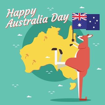 Platte ontwerpthema voor australië dag evenement