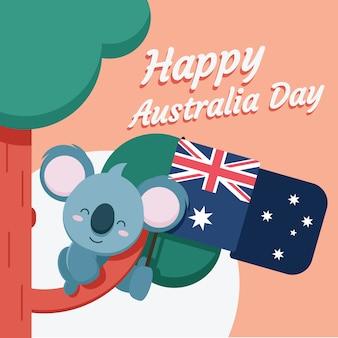 Platte ontwerpthema voor de viering van de dag van australië