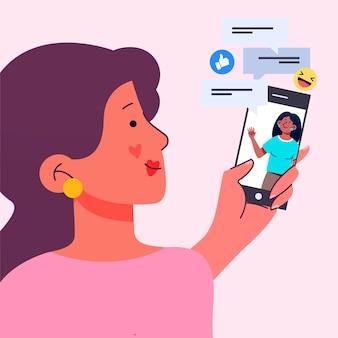 Platte ontwerpvrienden die op smartphoneillustratie videocalling