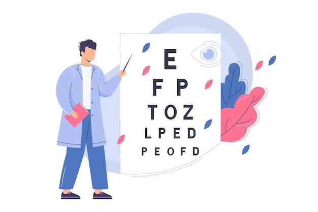 Platte oogarts controleert het gezichtsvermogen met oogtestkaart