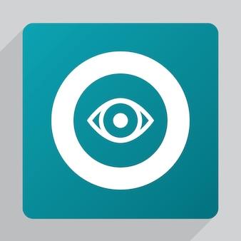 Platte oogpictogram, wit op groene achtergrond