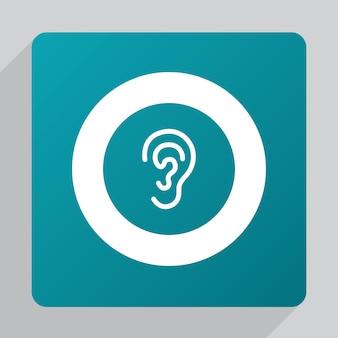 Platte oorpictogram, wit op groene achtergrond