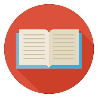 Platte open boek cirkel pictogram met lange schaduw. terug naar school en onderwijs vectorillustratie. vlakke stijl kleurrijk boek. zakelijk en kantoorobject. lezen studeren en leren.