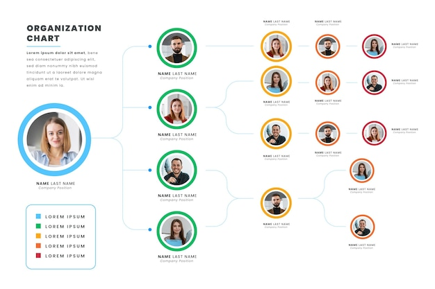 Platte organigram infographic met foto