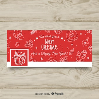 Platte ornamenten kerst facebook omslag