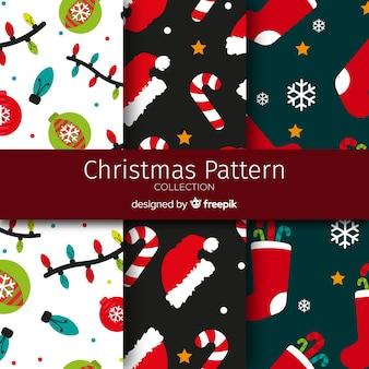 Platte ornamenten kerst patroon collectie