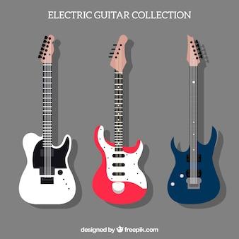 Platte pak van drie decoratieve elektrische gitaren