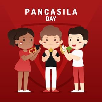 Platte pancasila dag illustratie
