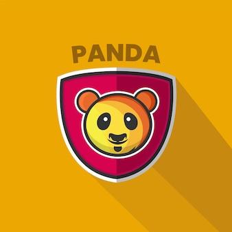 Platte panda schild logo vector sjabloon