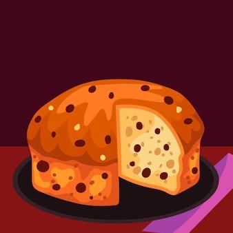 Platte panettone cake illustratie