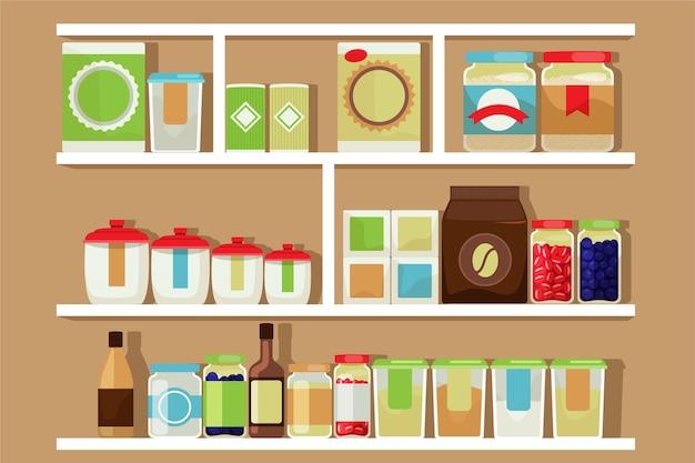 Platte pantry met verschillende soorten voedsel