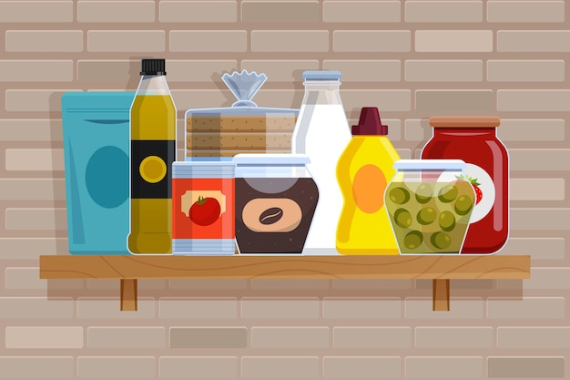 Platte pantry voedsel illustratie