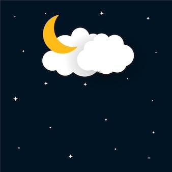 Platte papercut stijl maan sterren en wolken achtergrond