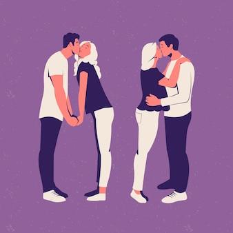 Platte paren kussen illustratie
