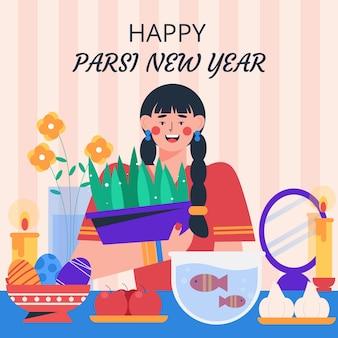 Platte parsi nieuwjaarsillustratie