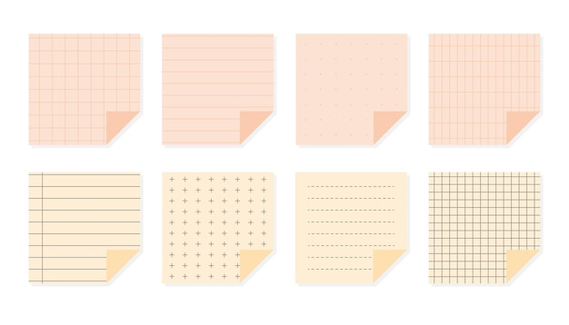 Platte pastel papier notities set kwadraat sjablonen blad met verschillende lineaire kruis gestippelde en raster patronen school elementen notebook papier beurt omslag geïsoleerd op witte vectorillustratie
