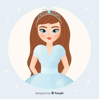 Platte pastel prinses illustratie