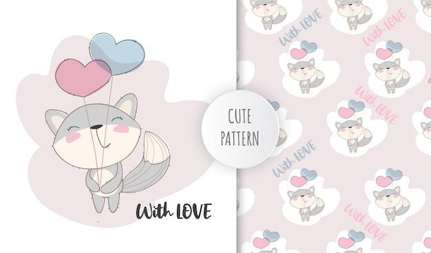 Platte patroon schattige dieren vos met liefde ballonnen
