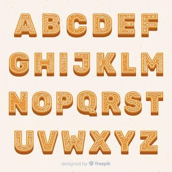 Platte peperkoek alfabet