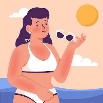 Platte persoon met een zonnebrand geïllustreerd