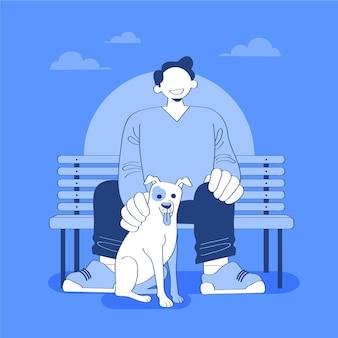 Platte persoon met huisdierenillustratie