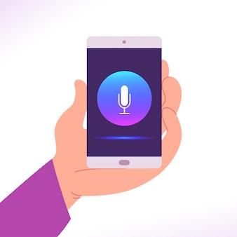 Platte persoonlijke assistent illustratie met menselijke hand houd smartphone met dynamische microfoon pictogram op het scherm. kunstmatige intelligentie, spraakherkenning, concept van moderne technologieën.