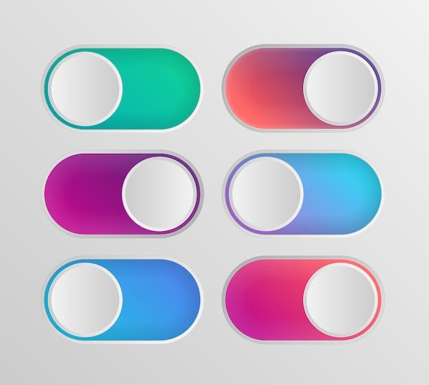 Platte pictogram kleurrijke schakelaars aan uit geïsoleerd op witte achtergrond
