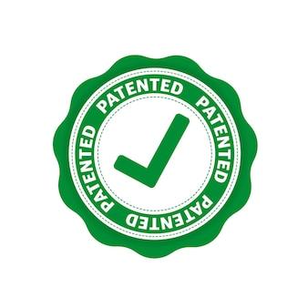 Platte pictogram met groen gepatenteerd op witte achtergrond. vector illustratie.