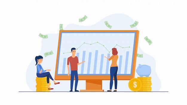Platte pictogram ontwerpconcept van mensen die investeren in aandelenmarkt met grafiekmonitor geïsoleerd op een witte achtergrond