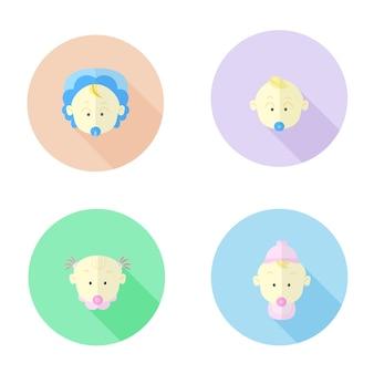 Platte pictogram van baby gezicht