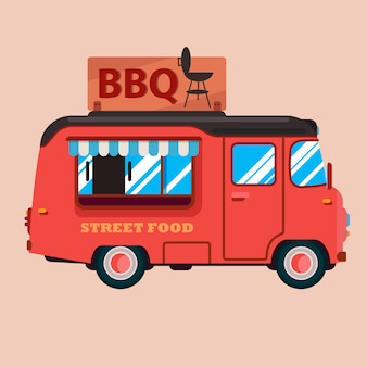 Platte pictogram van bbq food truck.